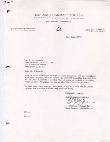 Sandoz Letter to Hubbard