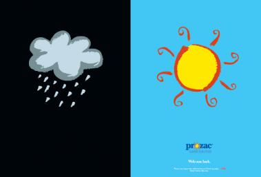 Prozac Blue & Black Advertisement